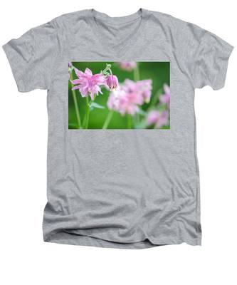 Pink Columbine Men's V-Neck T-Shirt