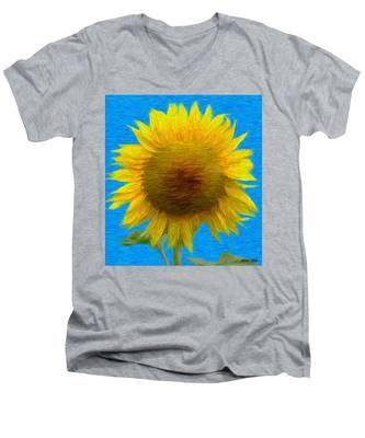 Portrait Of A Sunflower Men's V-Neck T-Shirt