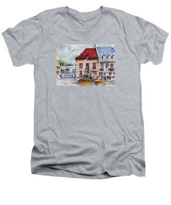 Quebec City Flower Boxes Men's V-Neck T-Shirt