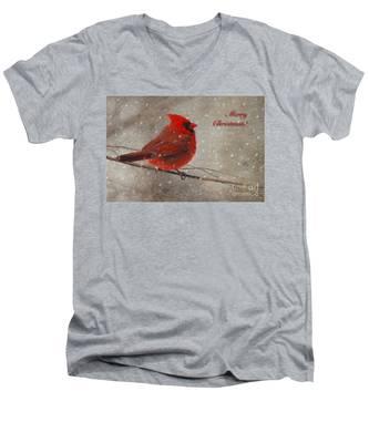 Red Bird In Snow Christmas Card Men's V-Neck T-Shirt