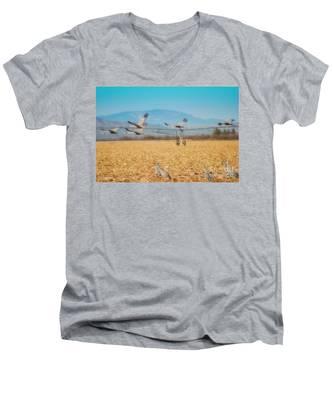 Sandhill Cranes In Flight Men's V-Neck T-Shirt