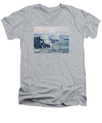 Sea, Splashes And Gulls Men's V-Neck T-Shirt