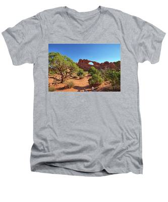Men's V-Neck T-Shirt featuring the photograph Skyline Arch by Kyle Lee