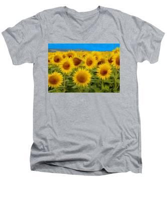 Sunflowers In The Field Men's V-Neck T-Shirt