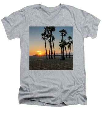 The Pier At Sunset - Square Men's V-Neck T-Shirt