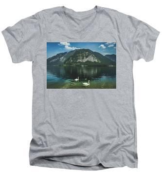 Three Lake Hallstatt Swans Men's V-Neck T-Shirt
