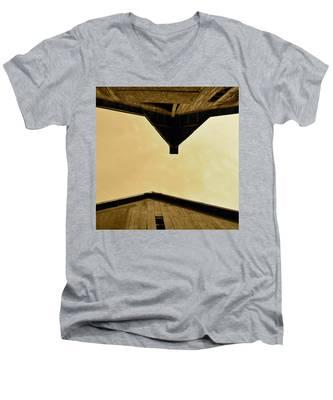 Two Barns In Sepia Men's V-Neck T-Shirt