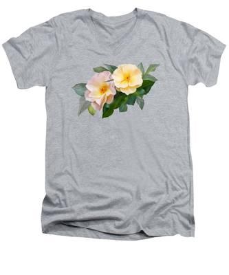 Two Wild Roses Men's V-Neck T-Shirt