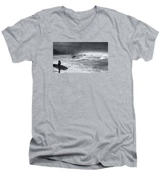 Waiting For The Surf By Mike-hope Men's V-Neck T-Shirt