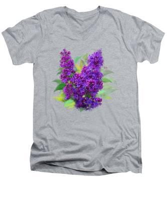 Watercolor Lilac Men's V-Neck T-Shirt