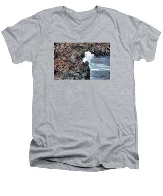 Men's V-Neck T-Shirt featuring the photograph Waves Azores-047 by Joseph Amaral
