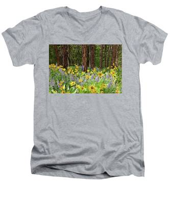 Balsamroot And Lupine In A Ponderosa Pine Forest Men's V-Neck T-Shirt