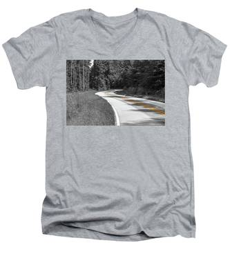 Winding Country Road In Selective Color Men's V-Neck T-Shirt