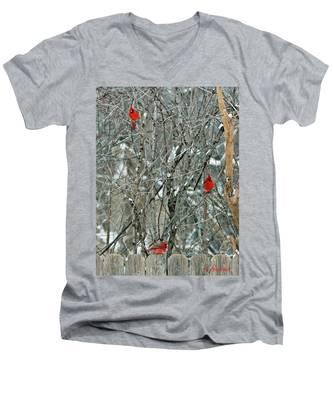 Winter Cardinals Men's V-Neck T-Shirt