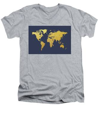 World Map Gold Foil Men's V-Neck T-Shirt
