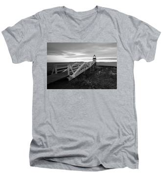 Men's V-Neck T-Shirt featuring the photograph Marshall Point Light by Kyle Lee