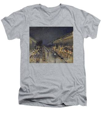 The Boulevard Montmartre At Night Men's V-Neck T-Shirt