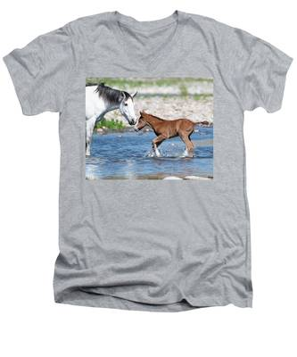 Baby's First River Trip Men's V-Neck T-Shirt