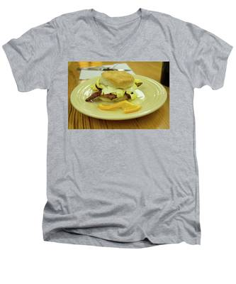 Men's V-Neck T-Shirt featuring the photograph Breakfast Sandwich by Kyle Lee