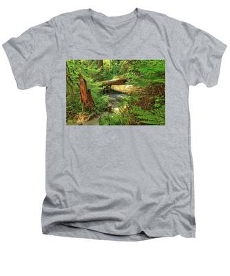 Men's V-Neck T-Shirt featuring the photograph Fallen Trees In The Hoh Rain Forest by Kyle Lee