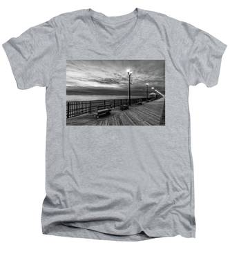 Men's V-Neck T-Shirt featuring the photograph Jersey Shore In Winter by Kyle Lee