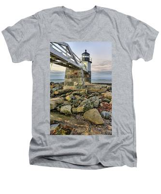 Men's V-Neck T-Shirt featuring the photograph Marshall Point Light From The Rocks by Kyle Lee