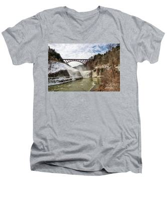 Winter At Letchworth State Park Men's V-Neck T-Shirt