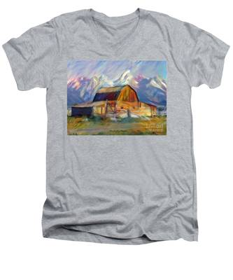 Old Wyoming Barn Men's V-Neck T-Shirt