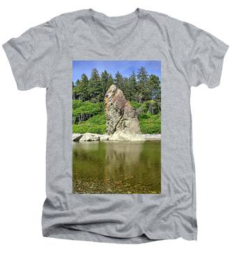 Men's V-Neck T-Shirt featuring the photograph Sea Stack At Ruby Beach  by Kyle Lee