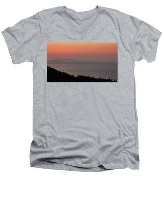 Men's V-Neck T-Shirt featuring the photograph Sunset Of The Olympic Mountains by Kyle Lee