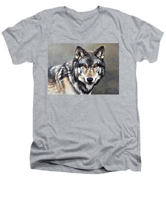 Timber Wolf By Alan M Hunt Men's V-Neck T-Shirt