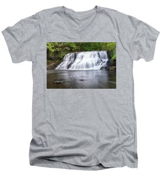 Men's V-Neck T-Shirt featuring the photograph Wadsworth Falls In Middletown, Connecticut U.s.a.  by Kyle Lee