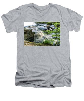 Men's V-Neck T-Shirt featuring the photograph Waterfall At The Old Mill  by Kyle Lee