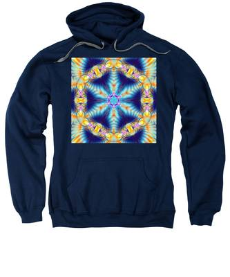 Sweatshirt featuring the digital art Cosmic Spiral Kaleidoscope 36 by Derek Gedney