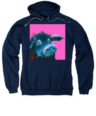 Black Pig Painting On Pink Background Sweatshirt