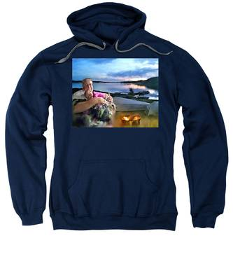 Sweatshirt featuring the painting Camping With Grandpa by Susan Kinney