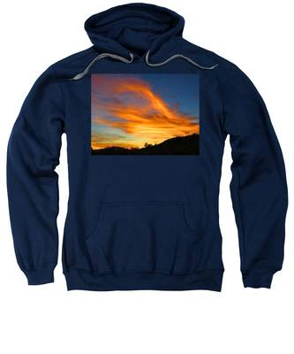 Sweatshirt featuring the photograph Flaming Hand Sunset by Judy Kennedy