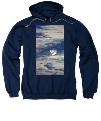 Sweatshirt featuring the photograph Full Moon In Gemini With Clouds by Judy Kennedy