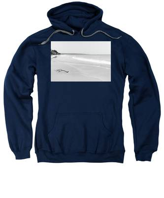 Sand Meets The Sea In Black And White Sweatshirt