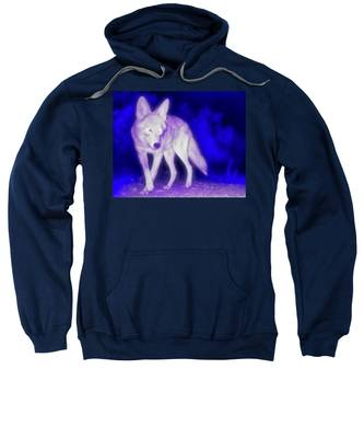 Coyote In The Garden Of The Ultraviolet Sweatshirt by Judy Kennedy