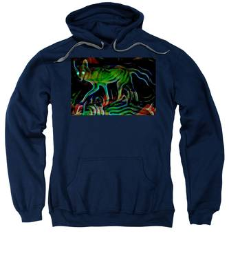 Neon Coyote Sweatshirt by Judy Kennedy