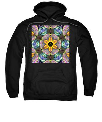 Sweatshirt featuring the digital art Cosmic Spiral Kaleidoscope 13 by Derek Gedney
