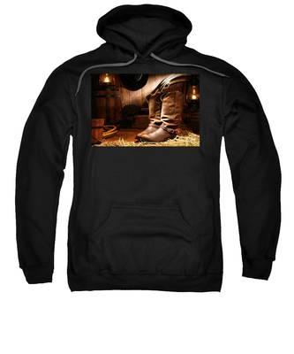 Cowboy Boots In A Ranch Barn Sweatshirt
