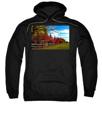 Sweatshirt featuring the photograph Fall Lineup by Susan Kinney