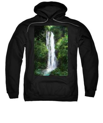 Sweatshirt featuring the painting Maui Waterfall by Susan Kinney