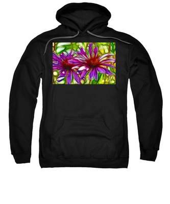 Two Purple Daisy's Fractal Sweatshirt
