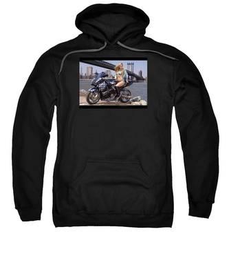 Bike, Babe, And Bridge In The Big Apple Sweatshirt