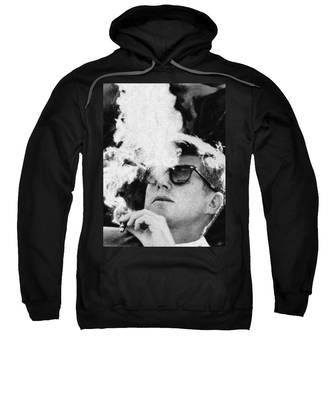 John F Kennedy Cigar And Sunglasses Black And White Sweatshirt