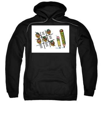 Sweatshirt featuring the digital art Mayan Tic Tac Toe by Mark Armstrong