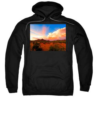 Sweatshirt featuring the photograph Monsoon Storm Sunset by Judy Kennedy